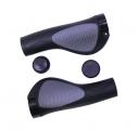 Грипсы TRIX, резиновые, 130 мм, 2-х компон.,1 черный фикс., торцевые заглушки, черно-сер, HL-G311-1