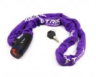 Велозамок-цепь TRIX (Размер:Ø6×1200 мм) в тканевой оплетке+ ключи B2, пурпурный, GK105.308