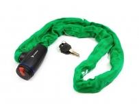 Велозамок-цепь TRIX (Размер:Ø6×1200 мм) в тканевой оплетке+ ключи B2, зеленый, GK105.308