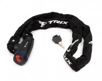 Велозамок-цепь TRIX (Размер:Ø6×1200 мм) в тканевой оплетке+ ключи B2, черный, GK105.308