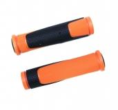Грипсы резиновые TRIX, 125 мм, 2-х компон., торцевые заглушки, черно-оранжевые, HL-G305 orange