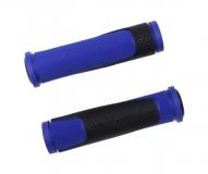 Грипсы TRIX, резиновые, 125 мм, 2-х компон., торцевые заглушки, черно-синие, HL-G305 blue
