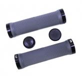 Грипсы резиновые TRIX, 130 мм, 2 черных фикс., торцевые заглушки, серые, HL-G201 gray/bk