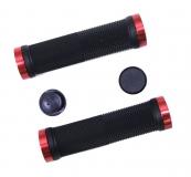 Грипсы TRIX, резиновые, 130 мм, 2 красных фикс., торцевые заглушки, черные, HL-G201 black/red