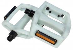 "Педали Z-Plus Z-0911, Sensetive, пластик белый/зеленый, CrMo ось 9/16"", 90x95x28mm, 127g"