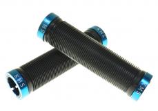 KMS, Грипсы черные, 2 синих грипстопа, 130 мм