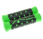 """Грипсы резиновые 120 мм, черный/зеленый, """"точка"""""""