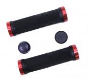 Грипсы резиновые TRIX, 130 мм, 2 черных фикс., торцевые заглушки, черные, HL-G201 black/black