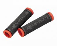 VENZO, Грипсы резиновые, черный/красный, VZ20-E05-003