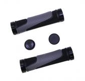 Грипсы резиновые TRIX, 130 мм, 2-х компон., 2 черных фикс., торцевые заглушки, черно-серые, HL-G308