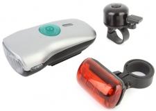 Комплект фонарей, передний + задний + звонок, JING YI, JY-822-3