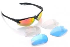 VENZO, Очки спортивные, 2 пары сменных линз, футляр, черная оправа, VZ-F27-002