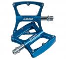 4BIKE, Педали K340 синие, 104х98х18 мм, 2 пром. подшипника, 1 втулка скольжения, ось Cr-mo, 12 шипов