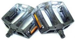 """Педали Z-Plus Z-0911, Fade, пластик прозрачный/черный, CrMo ось 9/16"""", 90x95x28mm, 127g"""