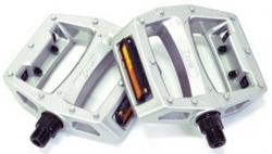 """Педали Z-Plus Z-0911, Vacuum, пластик серебристый, CrMo ось 9/16"""", 90x95x28mm, 127g"""