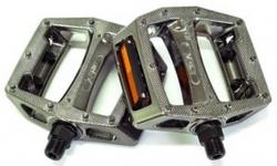 """Педали Z-Plus Z-0911, Vacuum, пластик зеркальный никель, CrMo ось 9/16"""", 90x95x28mm, 127g"""