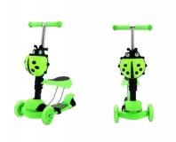 Самокат детский TRIX CORUS, светящиеся колеса: перед 120*30мм, зад 100*48мм, зеленый, 3 в 1