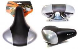 Седло TRIX комфорт 245x210 мм, с замком, пружинное, черно-серое, AZ-0801A red