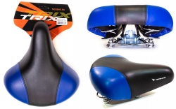 TRIX, Седло комфорт, 245x210 мм, с замком, пружинное, черно-синее, AZ-0801A blue