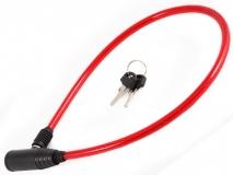 Vinca Sport, Замок велосипедный 8*650мм, красный тросик. инд.уп. 101.101 red
