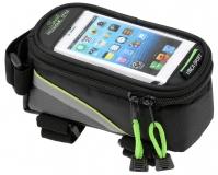 Сумка на раму, отделение для телефона, 195х100х100мм, зеленый кант, Vinca Sport, FB 07L black/green