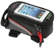 Сумка на раму, отделение для телефона, 195х100х100мм, красный кант, Vinca Sport, FB 07L black/red