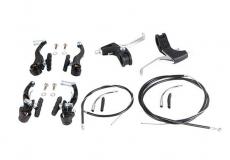 Тормоза комплект V-brake KMS алюм. перед+зад, 2 ручки, 2 тросика, 2 рубашки