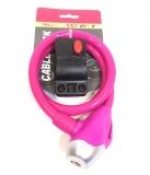 Велозамок SL567 ключ с кронштейном розовый