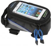 Сумка на раму, отделение для телефона, 195х100х100мм, синий кант, Vinca Sport, FB 07L black/blue