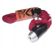 Велозамок-цепь TRIX (Размер:Ø6×900 мм) в тканевой оплетке+ ключи B2, красный, GK105.501 цепь